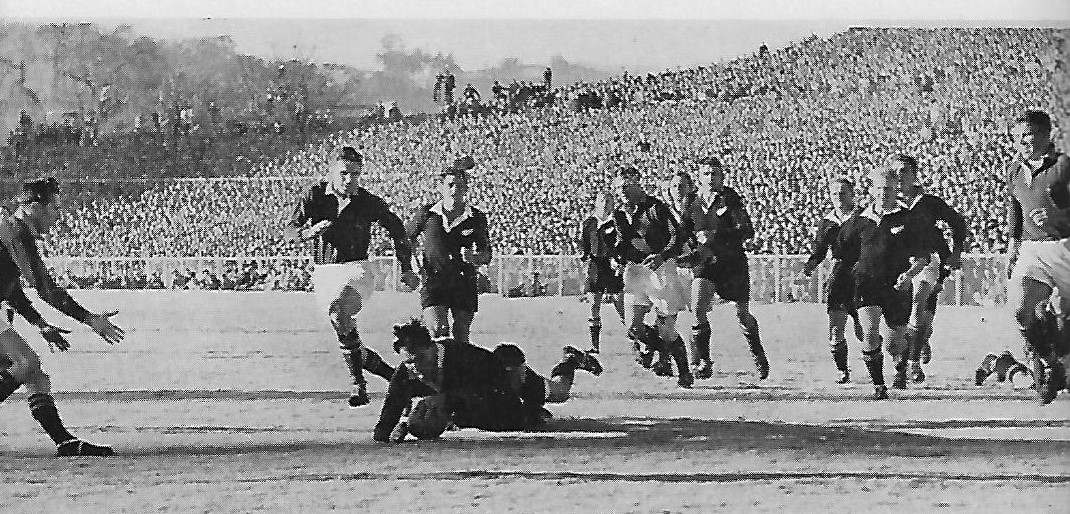 Peter Jones is just a few inches short of the try line. The miraculous try-saving tackle was made by Bok skipper Roy Dryburgh.